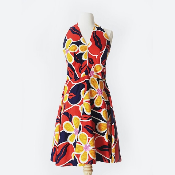 70's Red & Blue Floral Print Dress