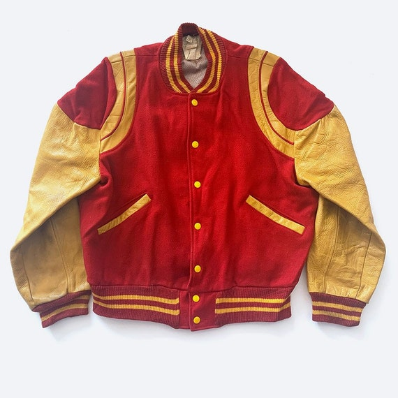 70's Red & Yellow Varsity Bomber Jacket