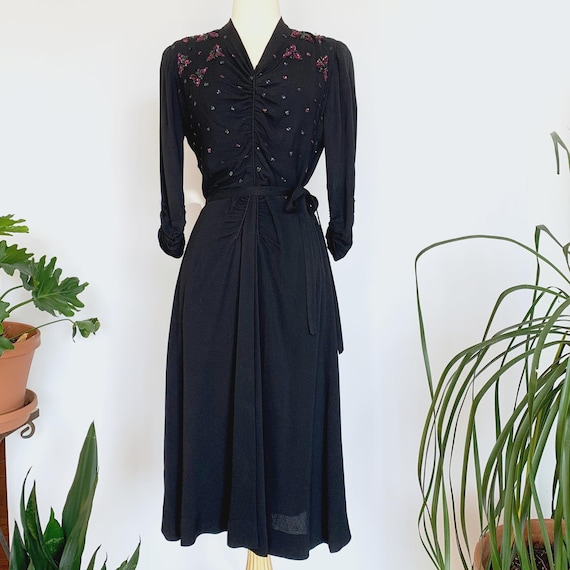 40's Black Jewel Tone Sequin Dress w/ Belt