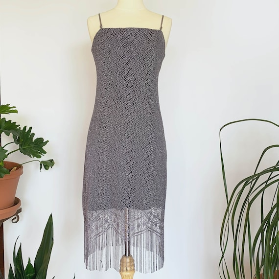 90's Grey Sparkle Mesh Fringe Dress