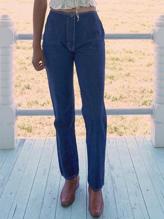 70's Dark Wash Embroidered Jeans