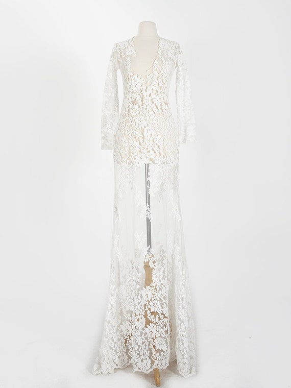 White Sheer Embroidered Lace Gown