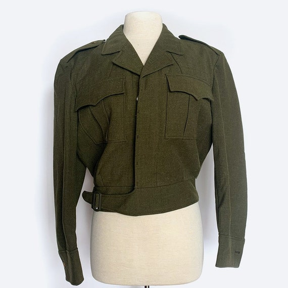 Green Cropped Military Wool Coat