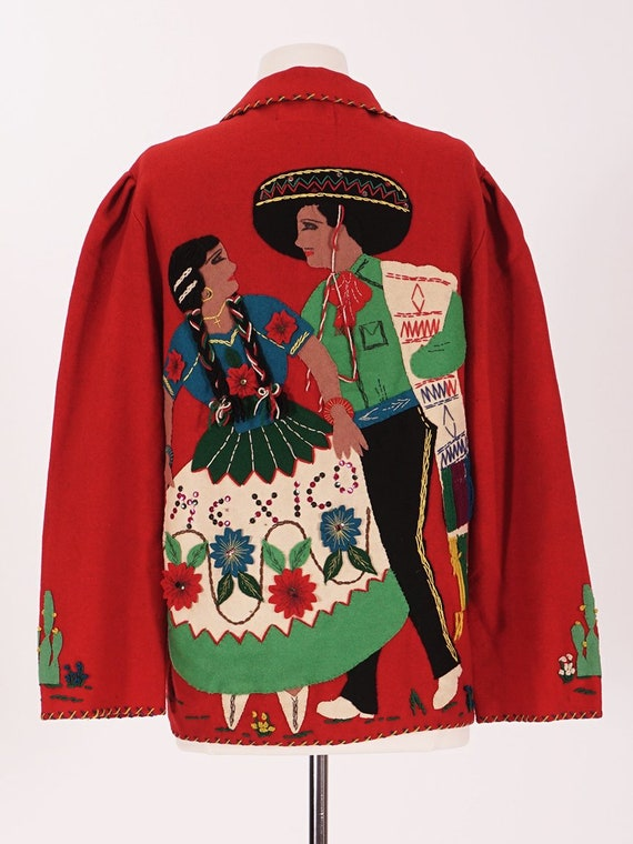 50's Red Wool Mexican Tourist Jacket - image 3
