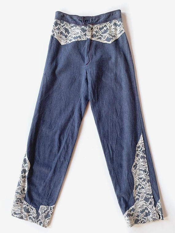 Lace Chambray Denim Pants