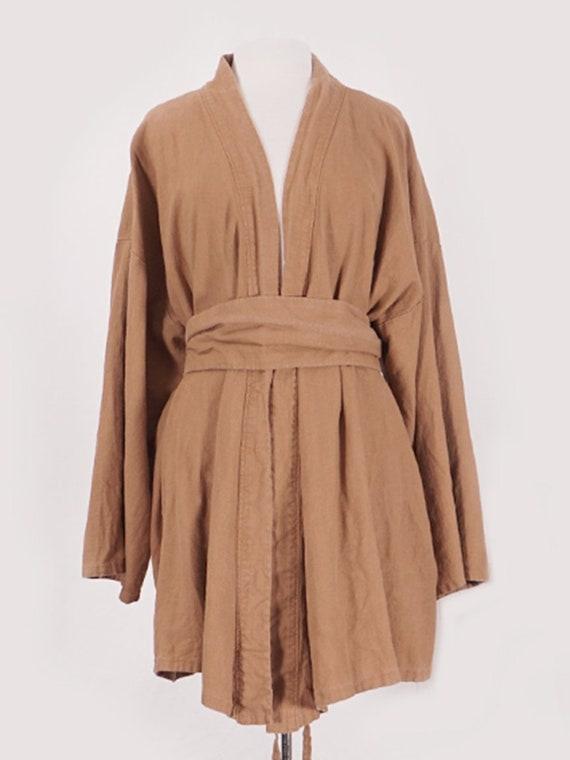 Camel Linen Belted Coat