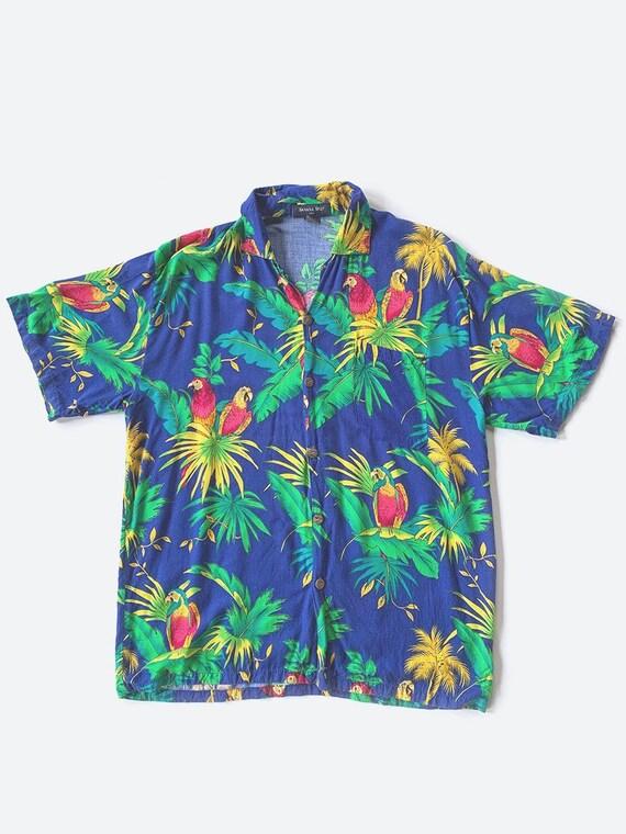 Blue & Green Parrot Tropical Print Hawaiian Shirt