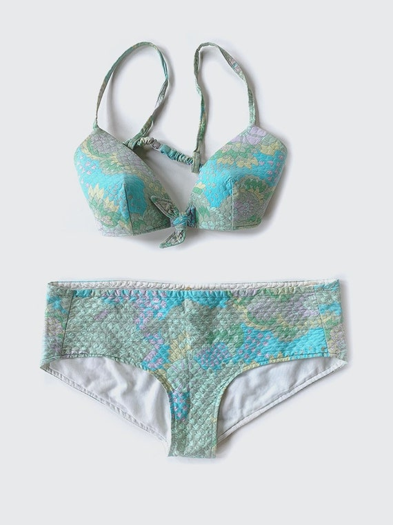 70's Blue Quilted Bikini Swimsuit