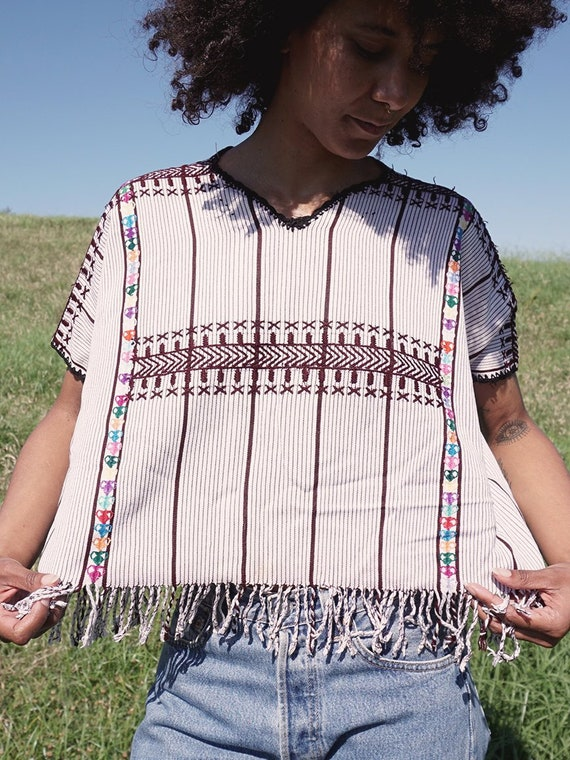 White Striped Woven Huipil