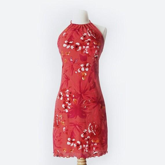 90's Hot Pink Hawaiian Print Mini Dress