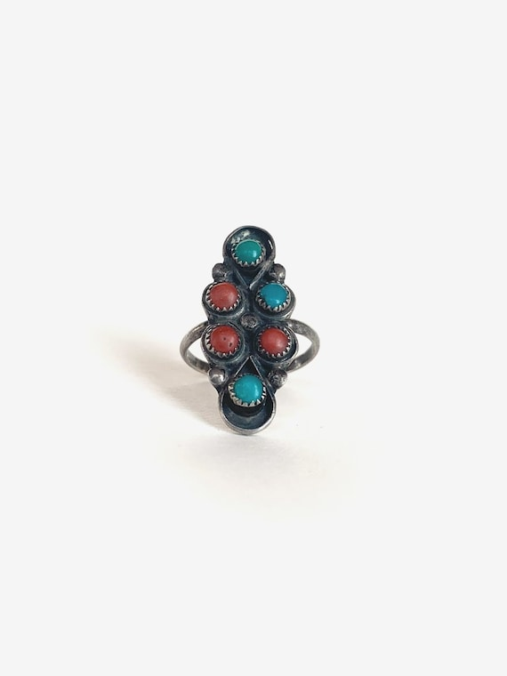 Silver & Turquoise Coral Ring