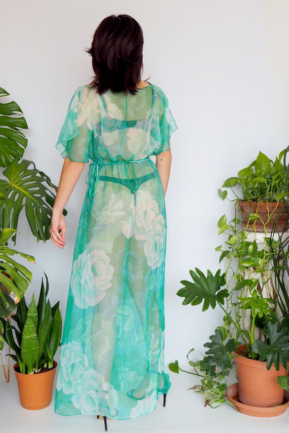 70s Green Floral Spring Dress  1970s Fluttery Green Floral Sheer Boho Dress