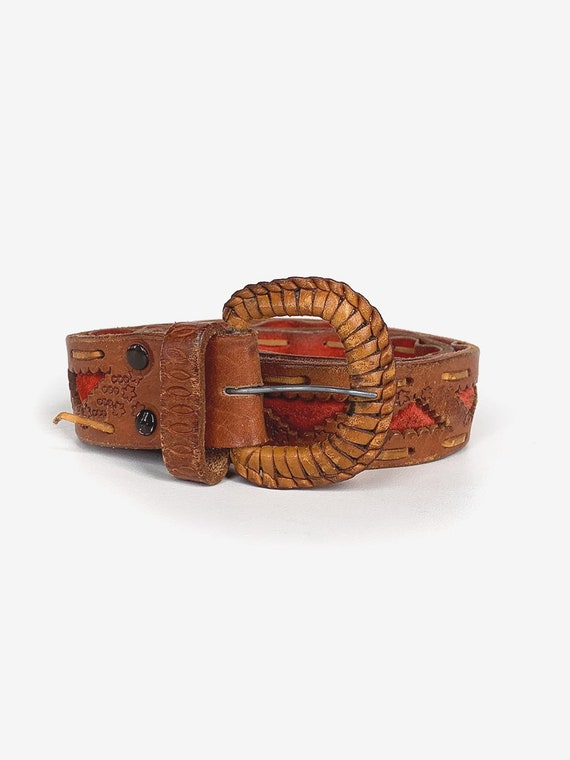 Old Tooled Brown & Red Leather Belt
