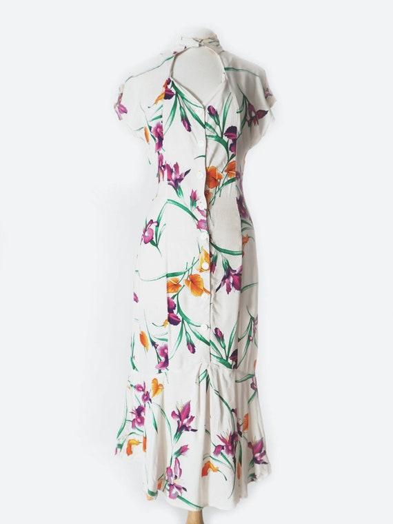White & Purple Tropical Print Maxi Dress