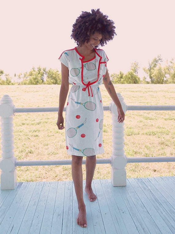 70's White Tennis Print Dress Set