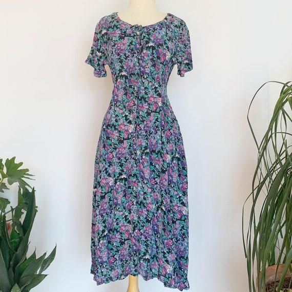 80's Purple Floral Short Sleeve Dress