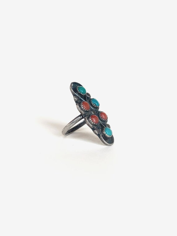 Silver & Turquoise Coral Ring - image 2