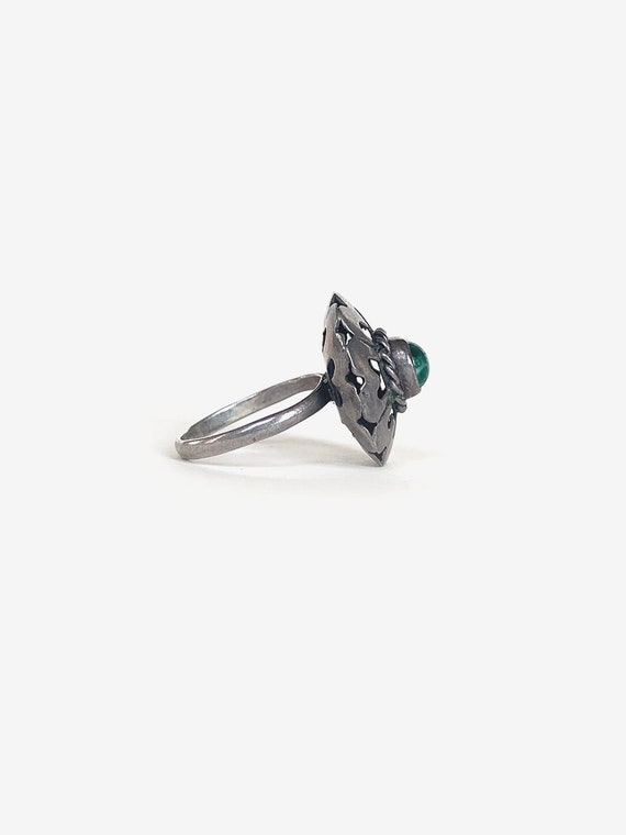 Flower Silver & Turquoise Ring - image 3