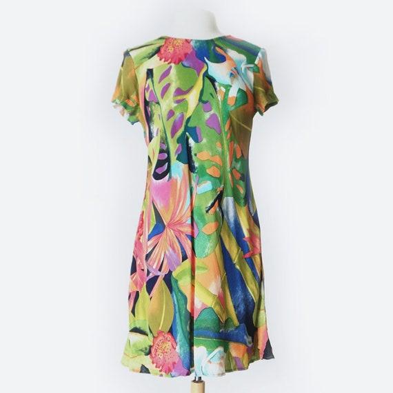 90's Short Sleeve Tropical Print Dress