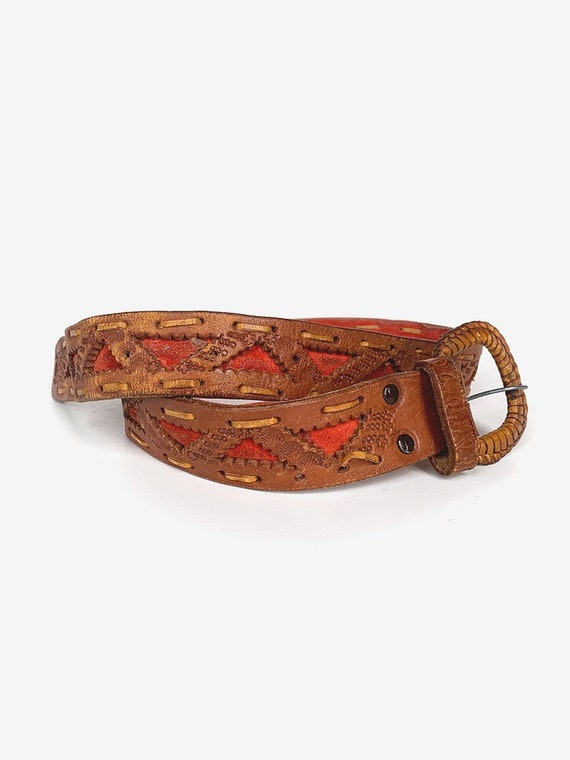 Old Tooled Brown & Red Leather Belt - image 3
