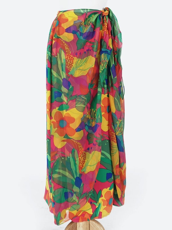 Vibrant Tropical Print Silk Wrap Skirt - image 1