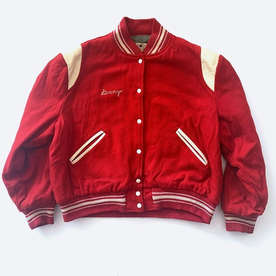 Red Embroidered Varsity Bomber Jacket