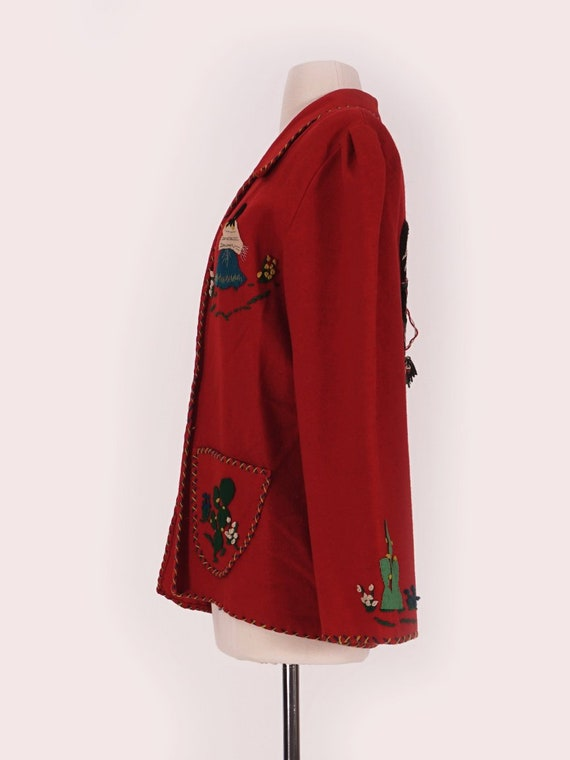 50's Red Wool Mexican Tourist Jacket - image 2