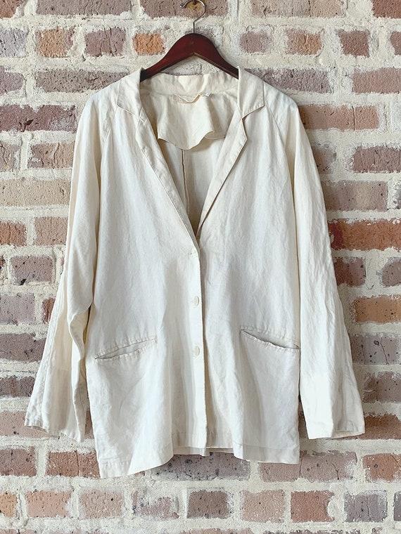 Cream Linen Blazer