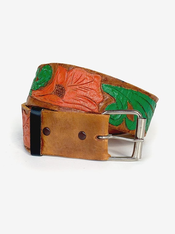 Painted Tooled Leather Belt