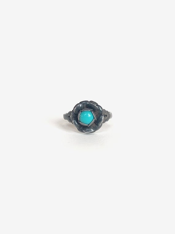 Rose Silver & Turquoise Ring - image 1