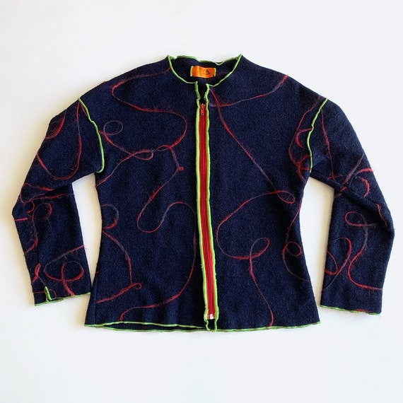 Navy Blue Swirl Knit Zip Sweater