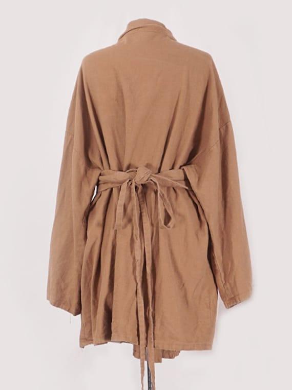 Camel Linen Belted Coat - image 3