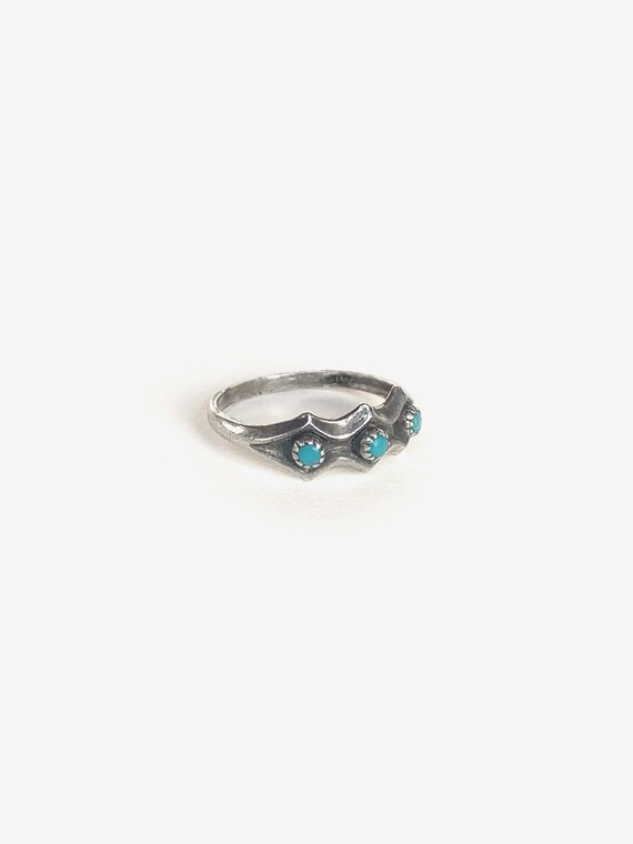 Simple Silver & Turquoise Ring - image 2