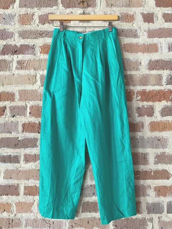 Green Linen Tailored Trousers