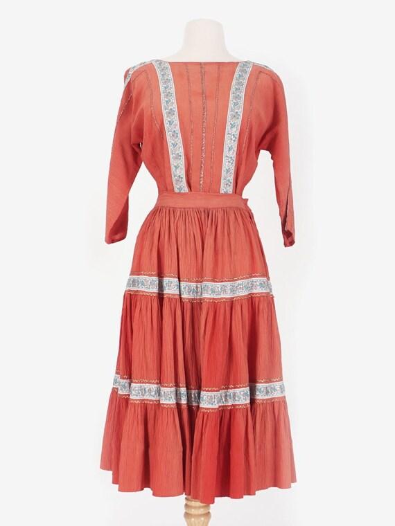 50's Coral Blouse & Skirt Set
