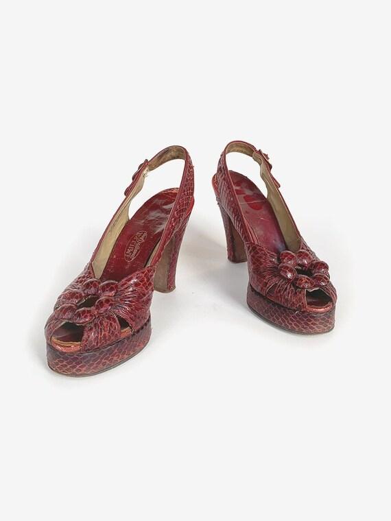 40's Red Snakeskin Platform Heels