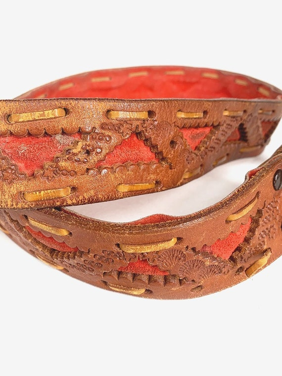 Old Tooled Brown & Red Leather Belt - image 2