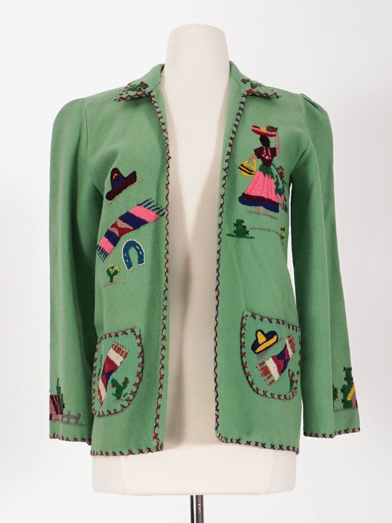 50's Green Wool Mexican Tourist Jacket