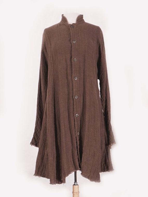 Olive Linen Duster Coat