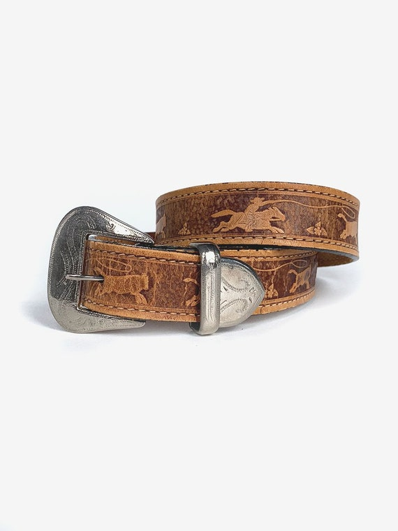 Tooled Leather Cowboy Belt