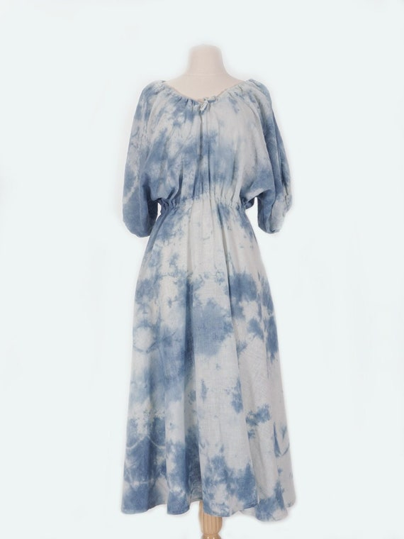 Indigo Dyed Cotton Peasant Dress