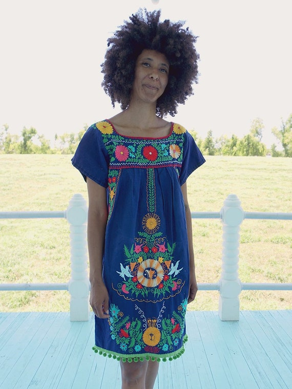 Blue Mexican Floral Embroidered Dress