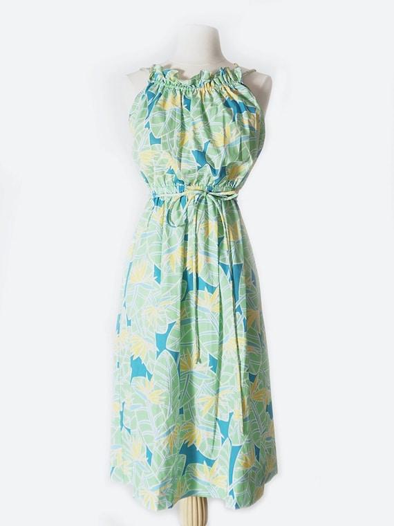 Light Green Hawaiian Ruffle Strappy Dress
