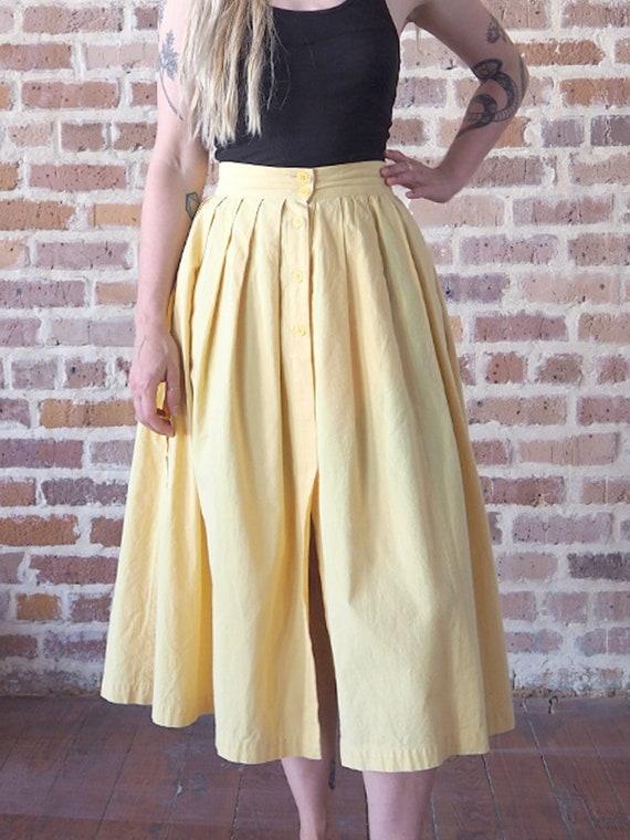 Yellow Cotton Pleated Skirt