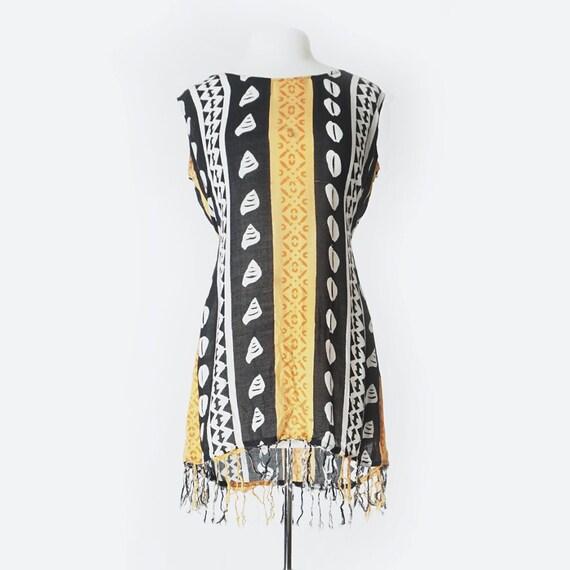 90's Black & Orange Cowrie Shell Batik Dress