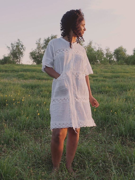 White Mexican Lace Dress