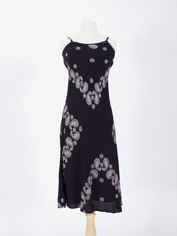 Navy Bandana Print Slip Dress