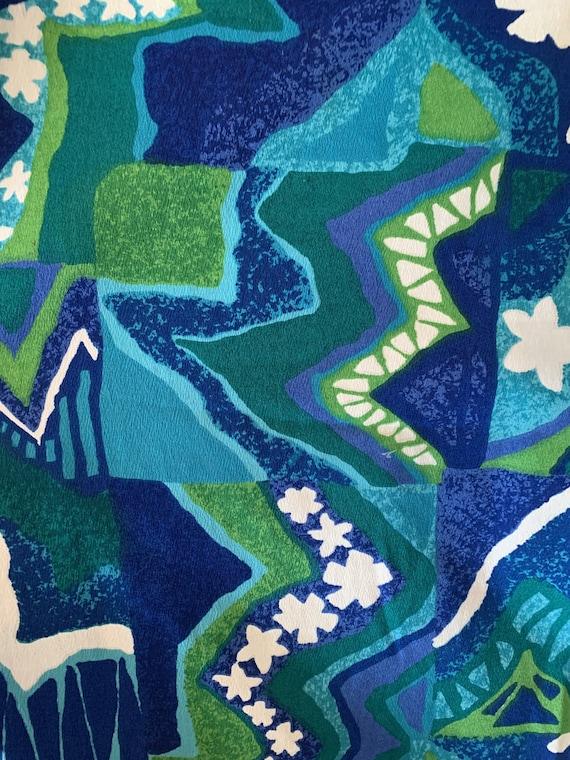 60's Blue & Green Hawaiian Sleeveless Mini Dress - image 4