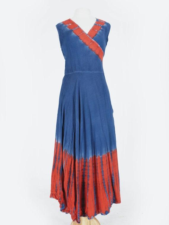 Blue & Red Tie Dye Wrap Dress