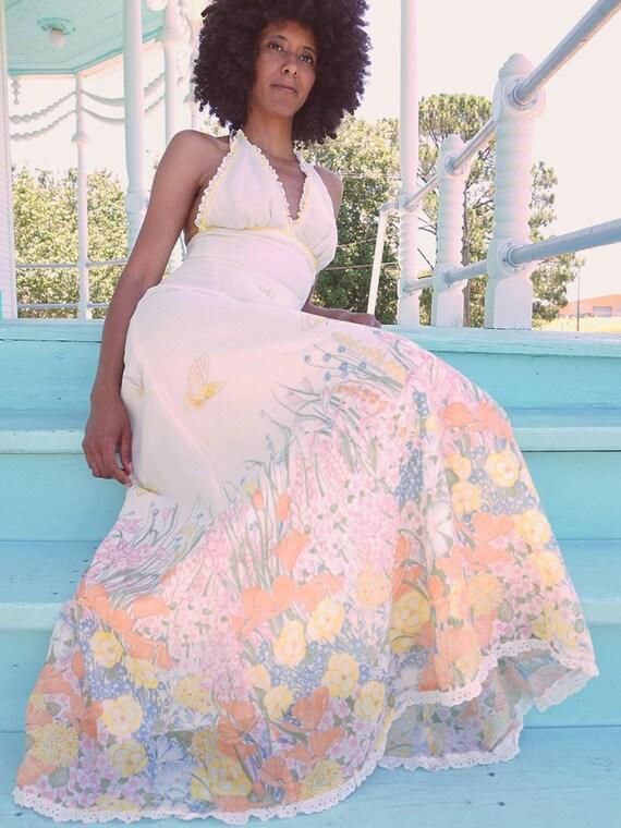 70's Cream Halter Butterfly Dress